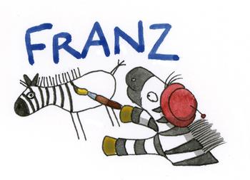 Zebra Franz schreibt seinen namen