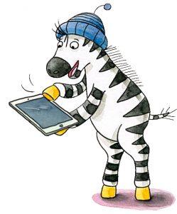 Zebra mit Tablet