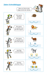 Schreibenlernen mit Zebra: Zebra Schreibklappe