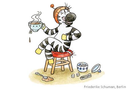 Zebra trinkt Tee