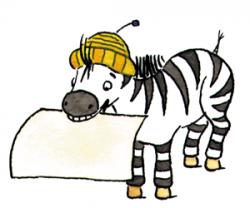 Zebra Papier im Maul