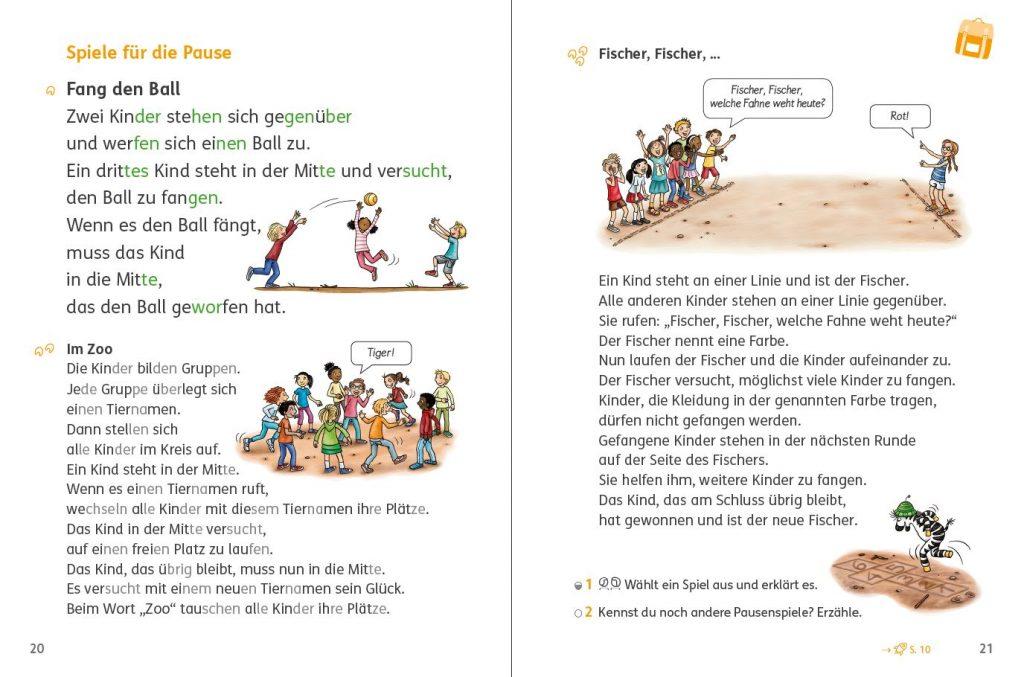 Zebra Lesebuch 2, Seite 20/21, Textarten auf drei Niveaustufen