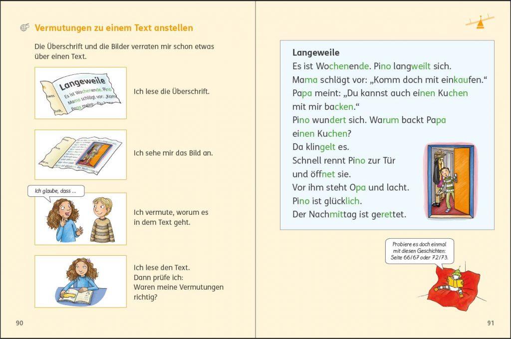 """Zebra Lesebuch 2 Seite 90/91, Methodendoppelseite """"Vermutungen zu einem Text anstellen"""""""